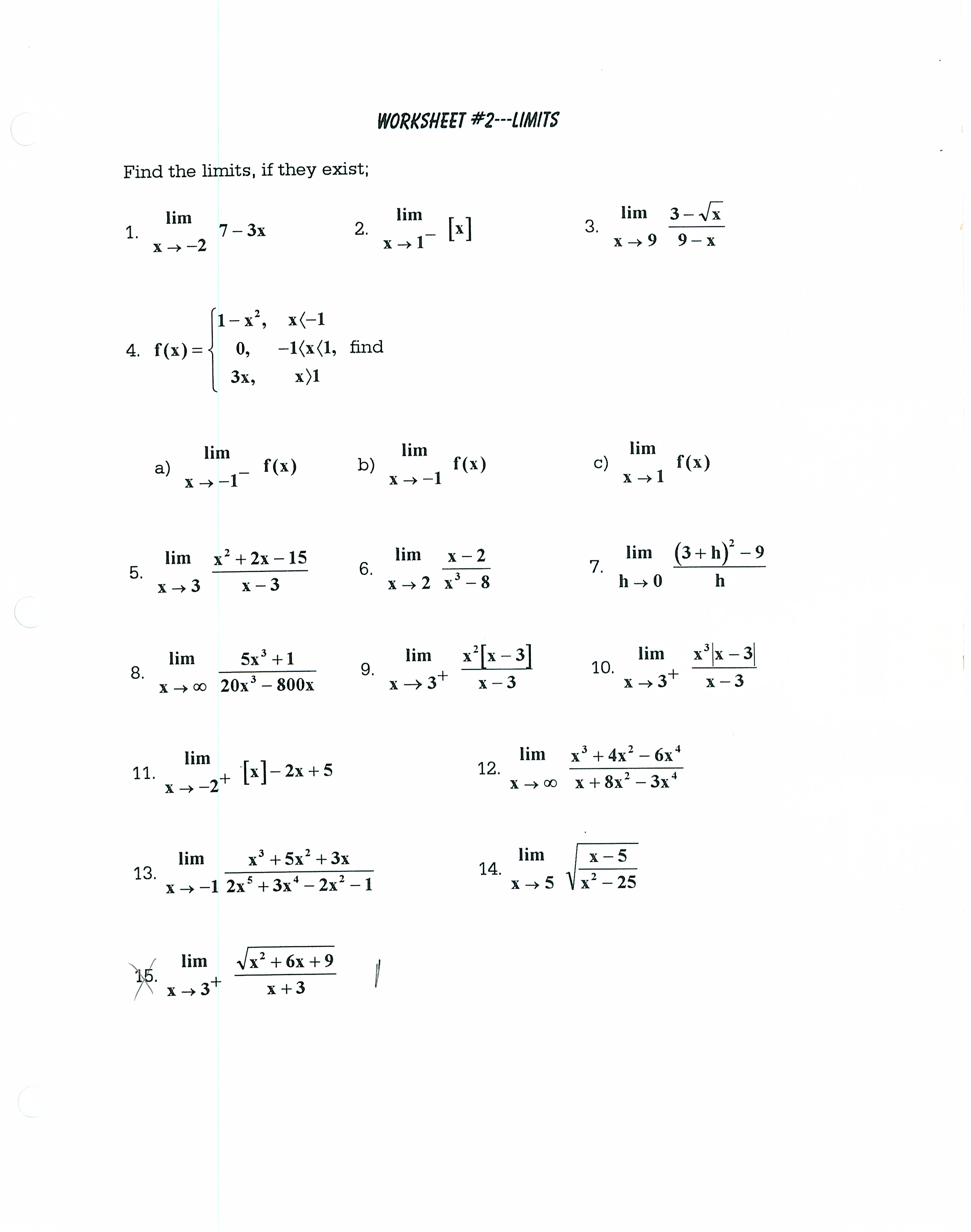 Assignments - Flick's AB Calculus